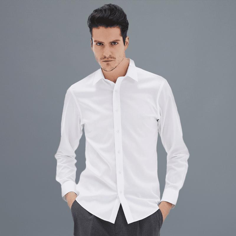 男士高支长绒棉免烫衬衫