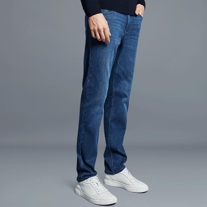 男士舒适保暖直筒牛仔裤