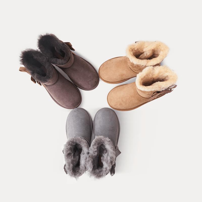 真皮毛女童系结雪地靴