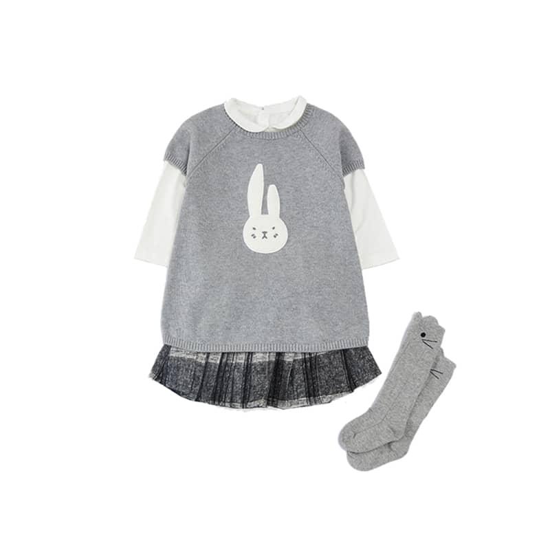 女童图案短袖针织裙 1-8