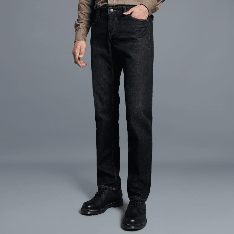 男式锁温直筒保暖牛仔裤