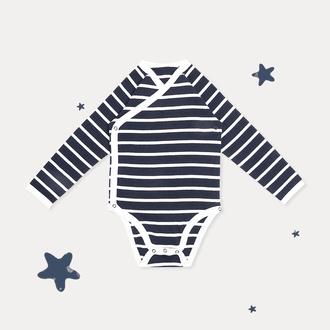 条纹长袖三角哈衣 藏青条纹*66cm